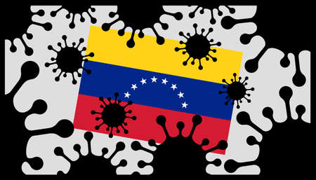 Covid-19 coronavirus pandemic icon and venezuela flag