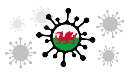 Covid-19 coronavirus icon and welsh flag