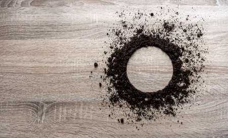 wood background concept ground piled circle plate texture planting center spring