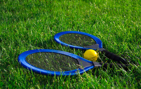on the green grass lawn lie two blue racquets and a yellow tennis ball