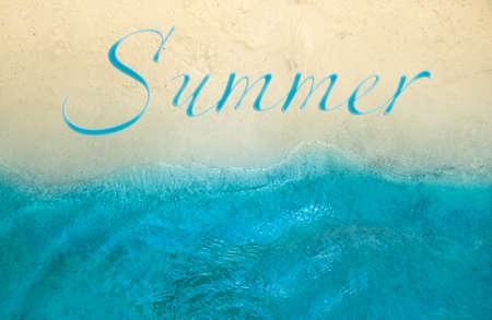 horizon background yellow sea beach sand and blue sea surf