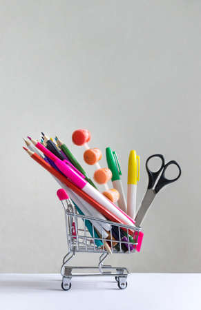 A cart multi-colored stationery accessories study copy space Stock Photo
