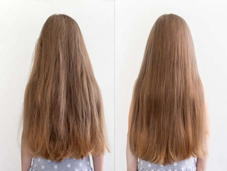 on a light background long hair girl before and after brittle and smooth
