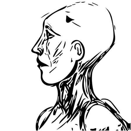 painted portrait of a bald man looking away. vector drawing with black lines on white isolated background.