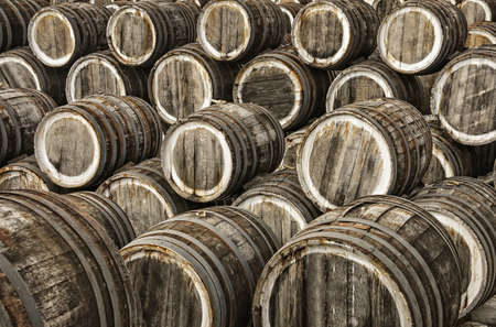 casks: a lot of oak wine casks with madeira wine while maderization on solarium