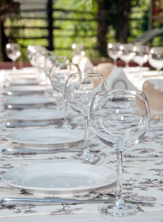 houseware: empty footed tumblers,glasses and party plates on festive served table