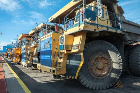 heavy trucks at repair station