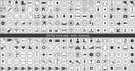 web icons: 200 flat web icons