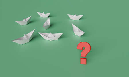3D illustration of leadership concept, a red paper boat on the right side lead a group of white paper boat on line from left to right Stockfoto