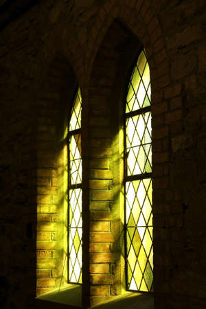 beautiful window light through some stained glass windows