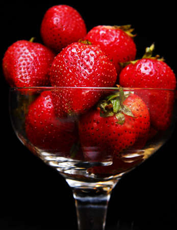 beautifull fresh red strawberries in a glass container Stock Photo - 3950216