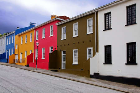 row of houses painted with bright colors