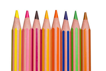 pencil crayons on a white background in a row Stock Photo - 25276729