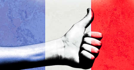 french fancy: Thumbs up in a French Flag with a grunge textured background Stock Photo
