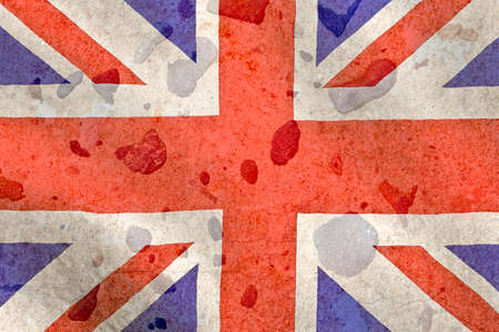 english countryside: British flag with on a brown stone background
