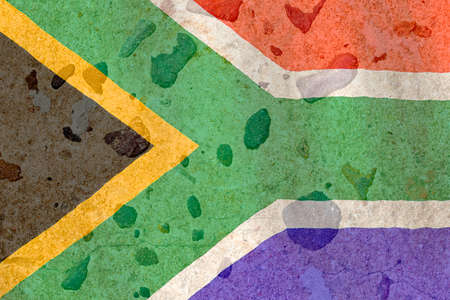 imbedded: South African flag on a brown stone background Stock Photo