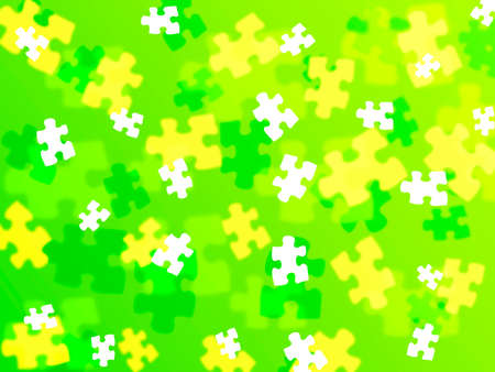 puzzle piece bokeh effect on a lime green background photo