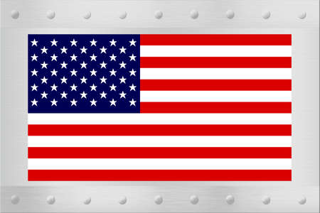backing: An American flag on a brushed silver backing or plaque