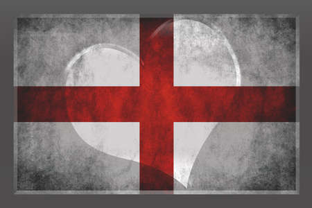 brushed aluminum background: flag of England on a dark grey background with a heart in the middle showing love for their country
