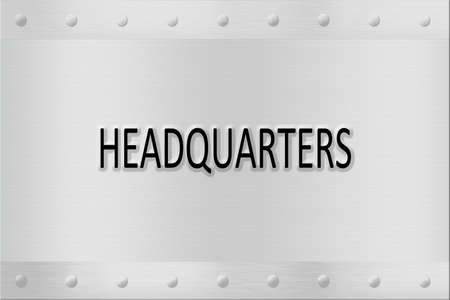 nameboard: wall plaque or nameboard with the words headquarters on brushed metal or steel