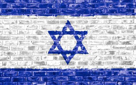 벽돌 질감 벽에 이스라엘 국기는 배경 또는 벽 용지로 사용되는