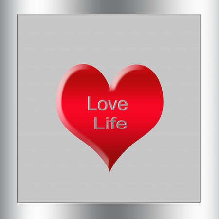 love of life: spazzolato metallico bacheca quadrato o firmare con le parole amare la vita e uno sfondo rosso Archivio Fotografico