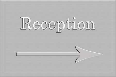 long lasting: metallic plaque or sign with the words reception written on it with an arrow for direction Stock Photo
