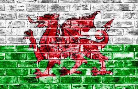 welsh flag: Welsh flag applied to a rough textured brick wall to be used as a background or wallpaper