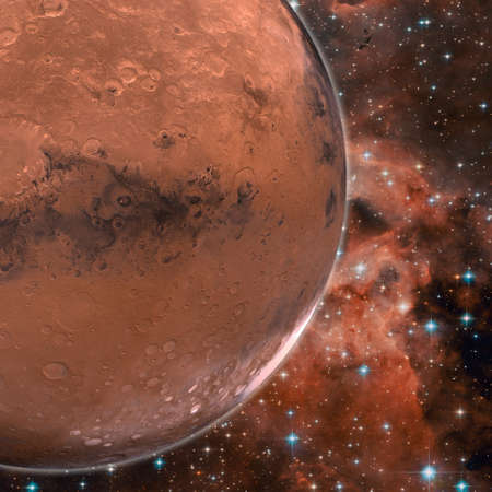 full filled: Large red planet in deep space full of craters orbiting in the bright star filled night sky