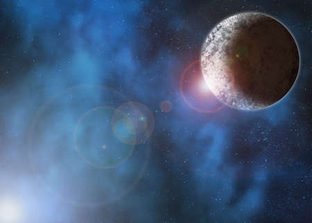 lensflare: planet in deep space with clouds surrounding it and a bright light causing lensflare Stock Photo