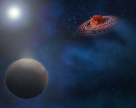 light source: planets in outer space with a large light source causing reflection and lens flare