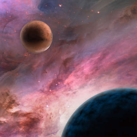 gaseous: two large unknown planets in deep space with bright stars and nebula