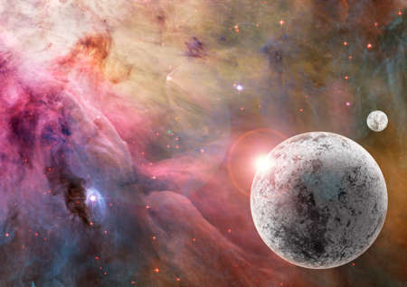 Large unknown frozen planet in a bright coloured star field with a bright star behind