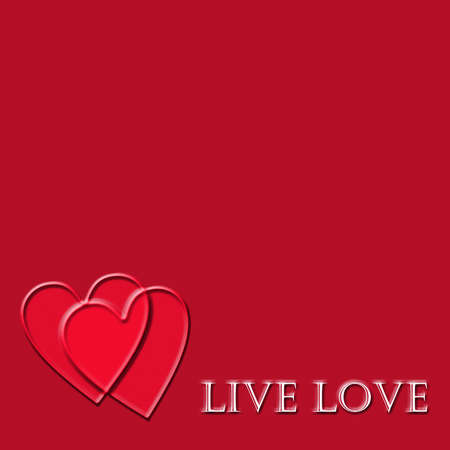 contentment: Live love words on a red background with hearts overlapping Stock Photo