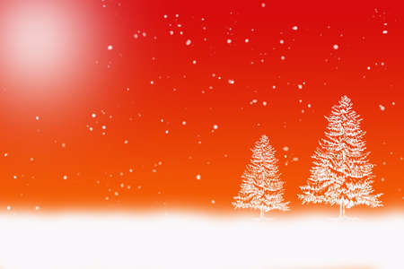 white winter: winter scene with white snow falling and snow covered trees on a gradient background Stock Photo