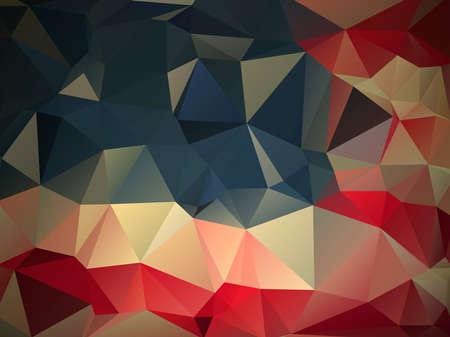 赤、青、白、ファンキーなモダンな背景不均一なサイズの三角形から成る
