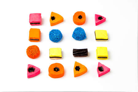 liquorice: Brightly coloured Liquorice sweets or candy on a white background