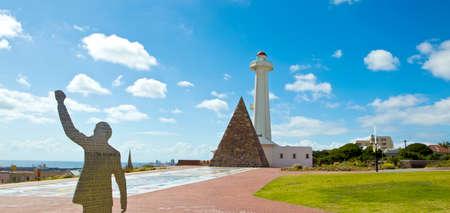 Metallo tagliato in memoria di Nelson Mandela al Donkin a Port Elizabeth Sud Africa Archivio Fotografico - 60229678