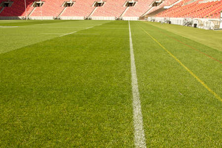 touchline: white touch line drawn on the grass of a sports stadium with empty red chairs in the background