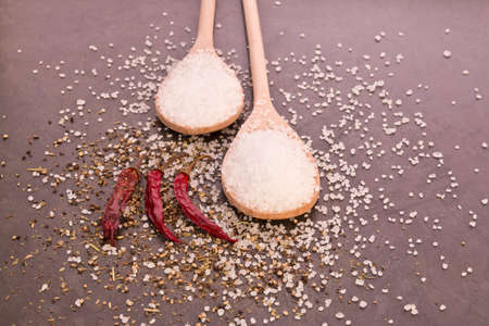 Wooden spoons holding coarse salt and dried chilies to the side with some spices sprinkled over them