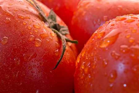 fresh ripe tomatoes close together with water droplets up close Stock Photo