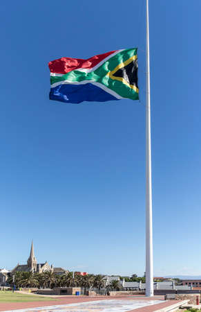 South African Flag flying at half mast after a states person had past away