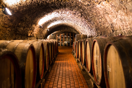 Old wooden barrels with wine in a wine vault, aged traditional wooden vine barrels lined up in cool and dark vine cellar, Italy, Porto, Portugal, France Archivio Fotografico
