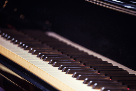 Classical Piano, Classical concert, white and black piano keys.Concert grand piano at stage.European scene, a concert of symphonic music