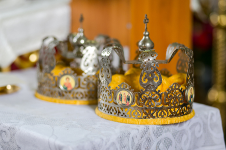 Wedding crowns in church ready to wedding ceremony