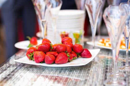 fresh strawberry buffet,buffet restaurant, snack,  restaurant, delicacies Stock Photo