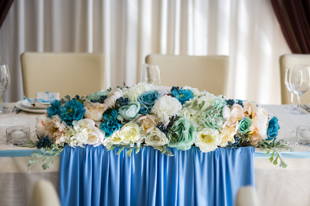 Stock Photo   Wedding Table, The Bride And Groom Table, Wedding Table  Decorations, Beautifully Decorated Table In The Restaurant