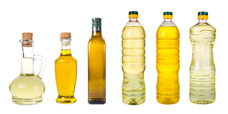 Set of extra virgin olive oil and sunflowerseed oil jars on a white background,bottle oil plastic big ,Bottle for new design Stock Photo