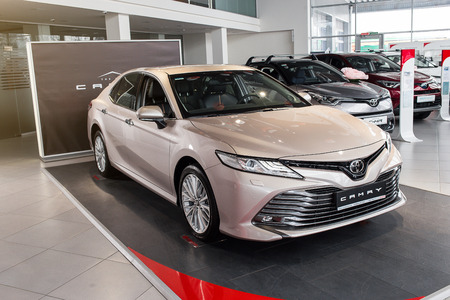 Vinnitsa, Ukraine - March 18, 2018. Toyota Camry concept car - presentation in showroom