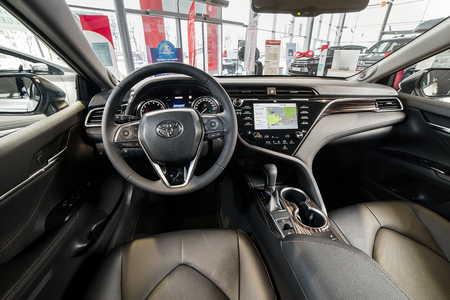 Vinnitsa, Ukraine - March 18, 2018. Toyota Camry concept car - interior inside
